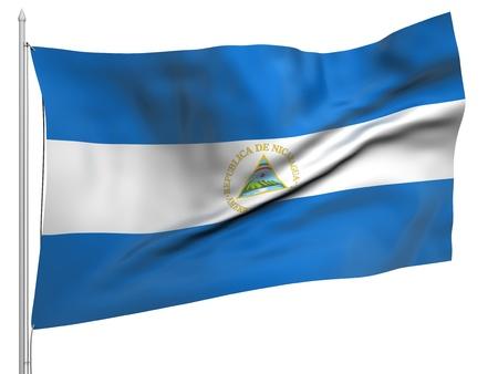 Flying Flag of Nicaragua  photo