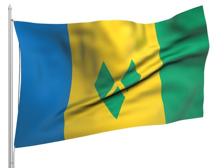 grenadines: Flying Flag of Saint Vincent and Grenadines  Stock Photo