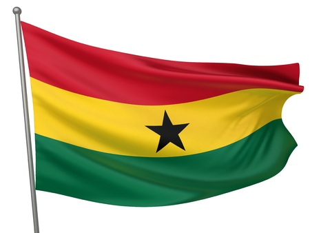 Ghana National Flag  | All Countries Collection - Isolated Image