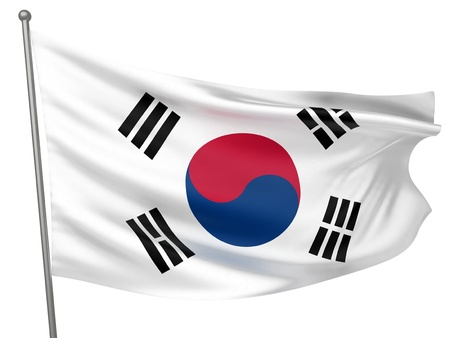 Korea, South National Flag  | All Countries Collection - Isolated Image Stock Photo