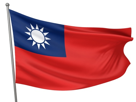 Taiwan National Flag  | All Countries Collection - Isolated Image Stock Photo