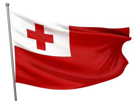 Tonga National Flag    All Countries Collection - Isolated Image Stock Photo