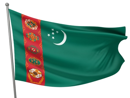 turkmenistan: Turkmenistan National Flag  | All Countries Collection - Isolated Image