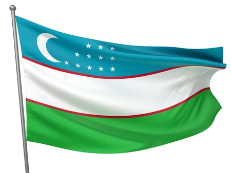 uzbekistan: Uzbekistan National Flag  | All Countries Collection - Isolated Image Stock Photo