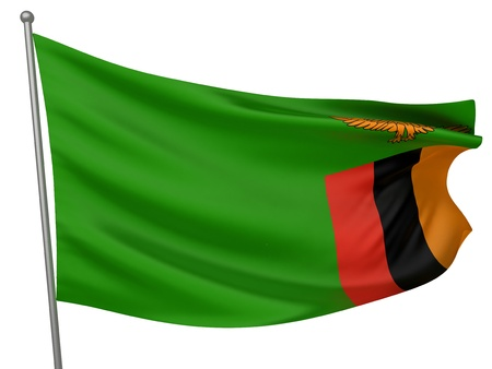 zambia: Zambia National Flag  | All Countries Collection - Isolated Image Stock Photo