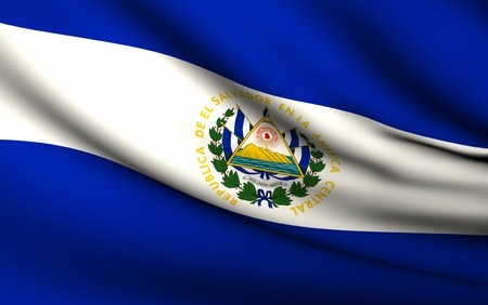 Flying Flag of El Salvador | All Countries Collection | Stok Fotoğraf