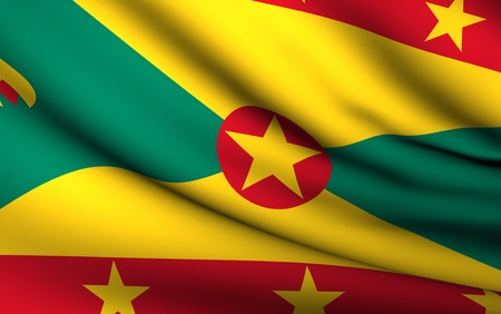 grenada: Flying Flag of Grenada | All Countries Collection | Stock Photo