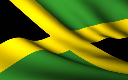 Flying Flag of Jamaica | All Countries Collection | Stok Fotoğraf - 10072757