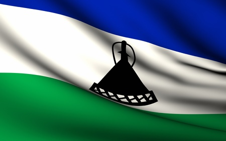lesotho: Flying Flag of Lesotho   All Countries Collection   Stock Photo