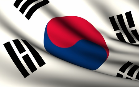 Flying Flag of South Korea | All Countries Collection | Stock Photo