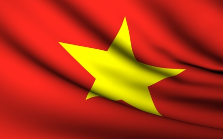 Flying Flag of Vietnam | All Countries Collection | Stok Fotoğraf