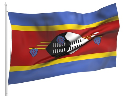 swaziland: Flying Flag of Swaziland - All Countries Collection Stock Photo