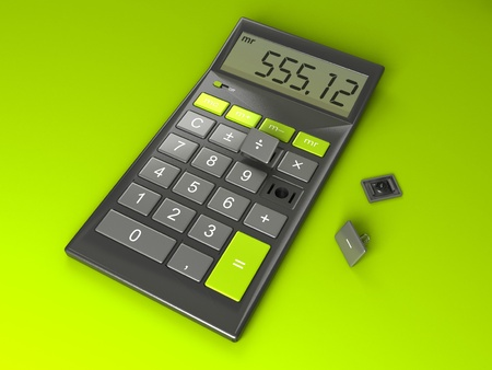 subtract: Calculator with Broken Buttons Stock Photo