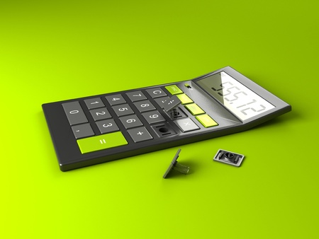 subtract: Calculator with Broken Buttons «Subtract» & «Divide» Stock Photo