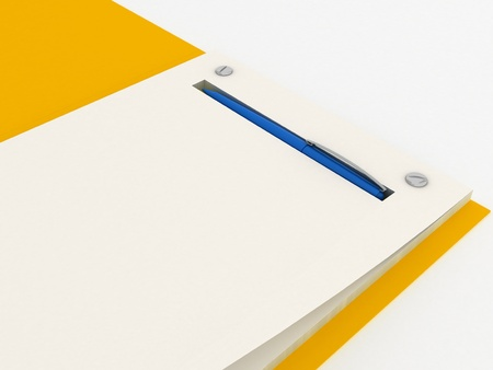 yellow notepad: Open Yellow Notepad with a Blue Pen