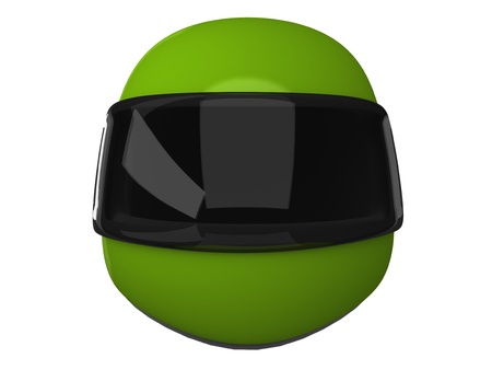 Green Moto Helmet Isolated on White Backgound photo