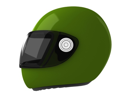 safeness: Green Moto Helmet Isolated on White Backgound