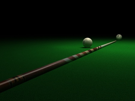 cue: PoolSnooker Table, Ball and Cue - Billiard