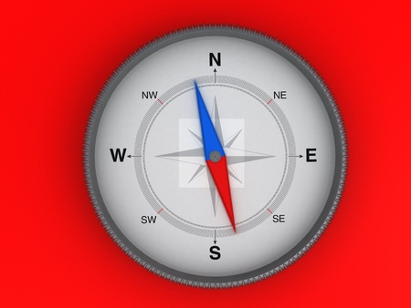 Compass On The Red Background  | Computer Art Series