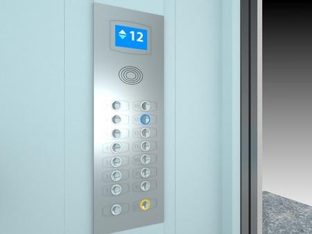 panel de control: Ascensor Interior | Computer Art 3D de la serie Foto de archivo