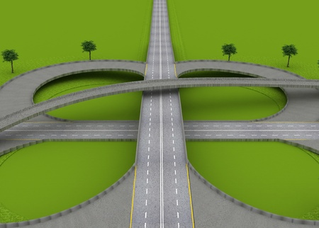 roundabout: Highway Traffic Roundabout on the Green Grass