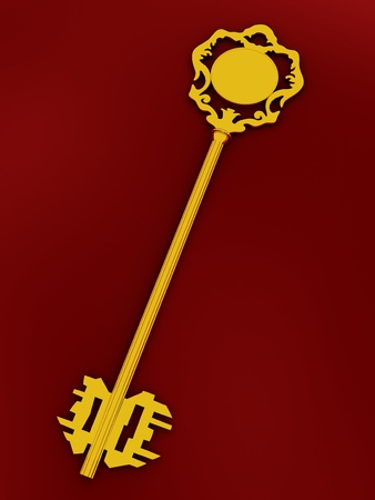 Golden antique key on the red background photo