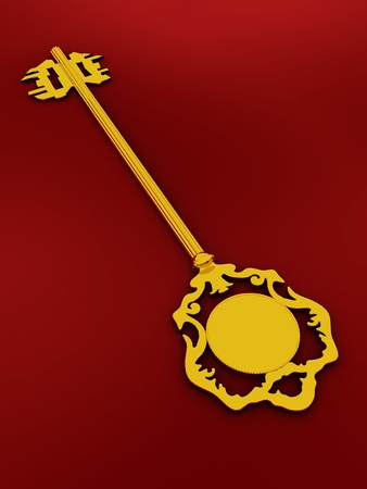 bordo: Golden antique key on the red background Stock Photo