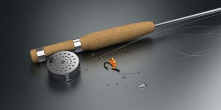 flyfishing: Fly-Fishing Set    Computer Art 3D Series Stock Photo