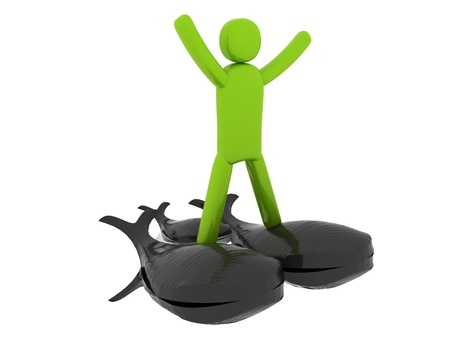 pictogramm: Green man standing on three whales - Social Themes
