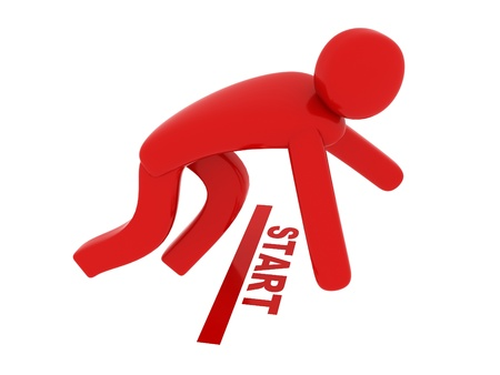 Red man on start - Social Themes Stock Photo - 10350862