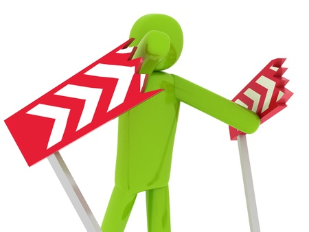 Green man breaking the barriers - Social Themes Stock Photo - 10350872
