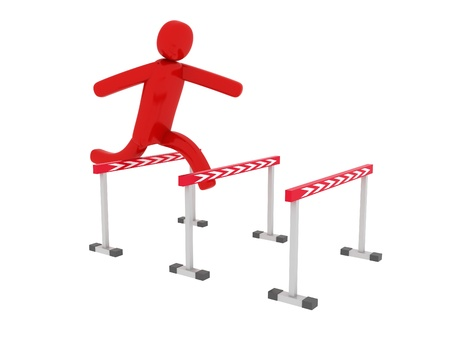 Red man jumps over the barriers - Social Themes Stock Photo - 10350860