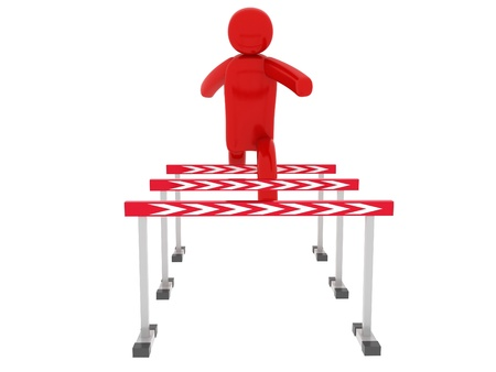 Red man jumps over the barriers - Social Themes Stock Photo - 10350866