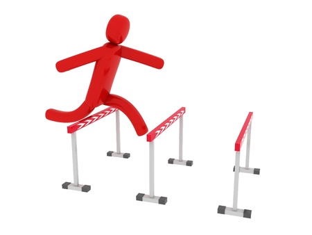 Red man jumps over the barriers - Social Themes Stock Photo - 10350842
