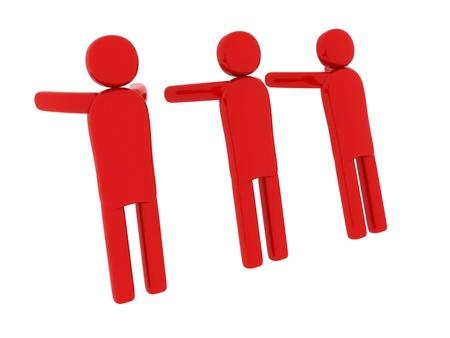 pictogramm: Red men pushing something - Social Themes Stock Photo