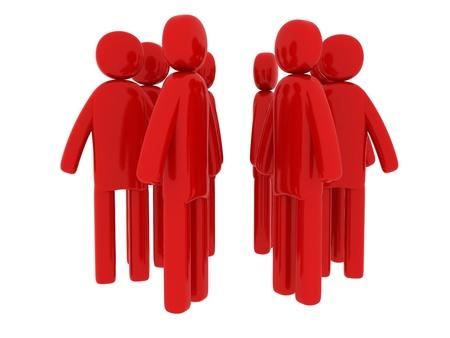 pictogramm: Red men walking around - Social Themes Stock Photo