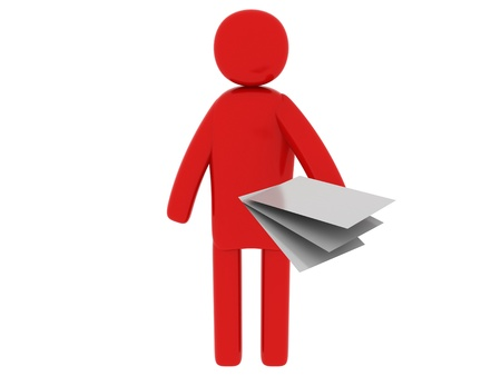 Red man with papers - Social Themes Stock Photo - 10341491