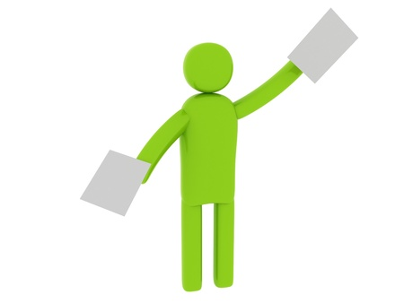 pictogramm: Green man with papers - Social Themes