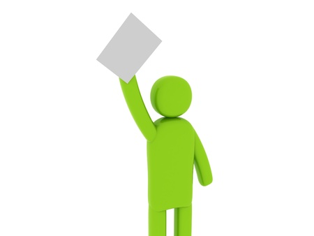 Green man with papers - Social Themes Stock Photo - 10341548