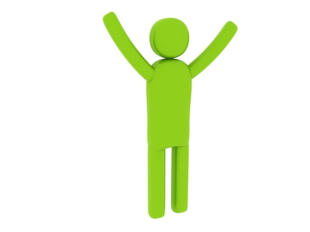 Green man with hands up - Social Themes Stock Photo - 10341546