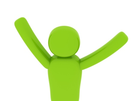 Green man with hands up - Social Themes Stock Photo - 10341490