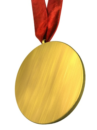 gold medal: Golden Medal with Red Ribbon Isolated on white