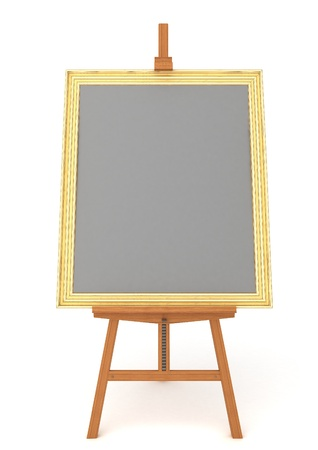 Easel with frame isolated on white background
