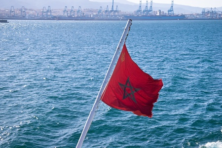 Moroccan flag on the ship photo