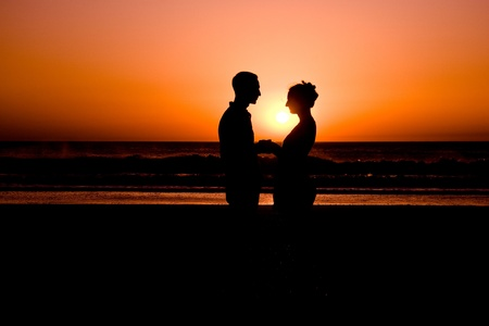 Couple in sunset photo