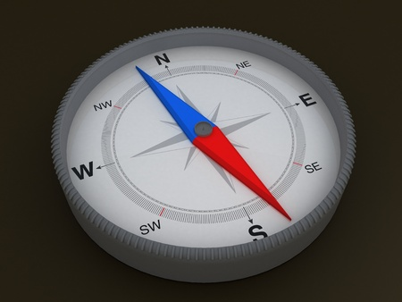 Compass on dark background - 3d Object Series Stock Photo