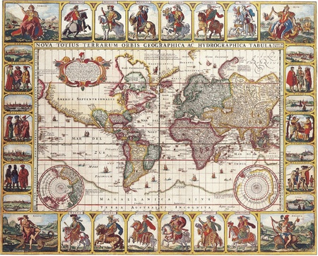 nicolas: High-quality Antique Map - Nicolas Visscher, 1652 Stock Photo