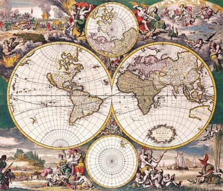 mapa de africa: De alta calidad mapa de la antig�edad - Federico De Wit, 1668 Foto de archivo