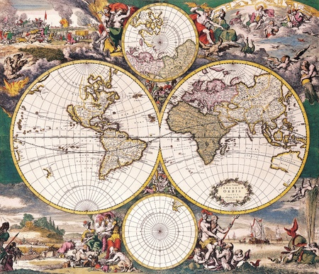 asia map: High-quality Antique Map - Frederick De Wit, 1668 Stock Photo