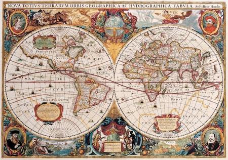 고품질의 고대지도 - Henricus Hondius 1630 스톡 콘텐츠